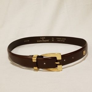 Laura Biagiotti Italy Unisex Brown Leather Belt 30